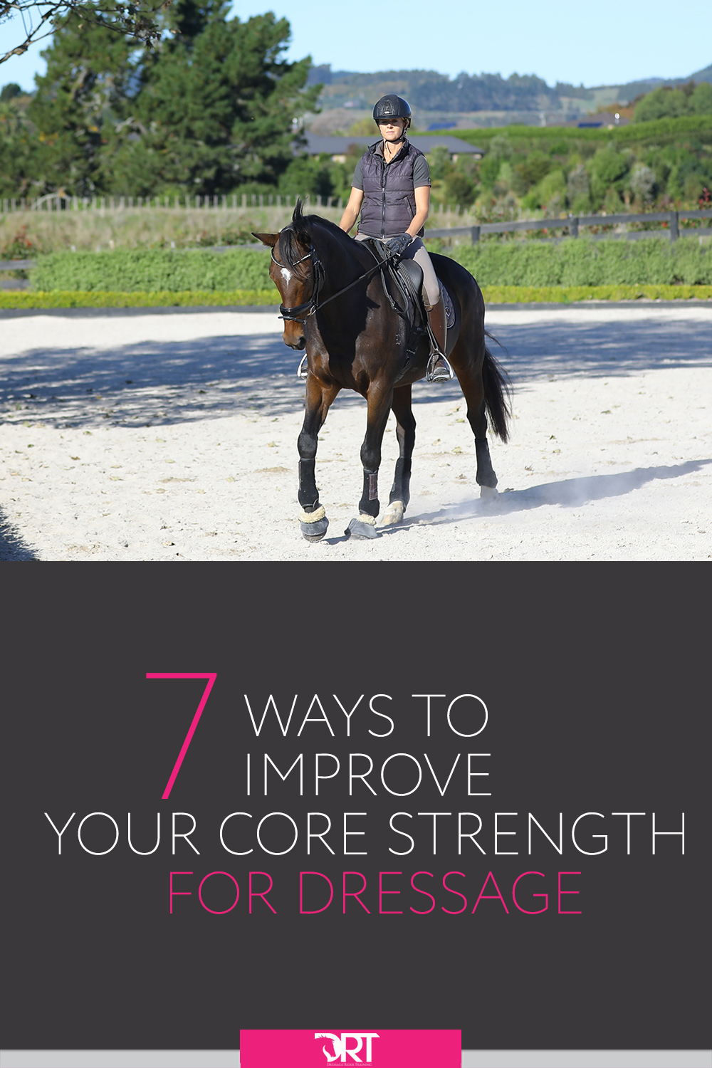 Here are 7 great exercises to help improve your core strength for dressage.   #dressage #dressagetraining #dressagerider #dressageexercises