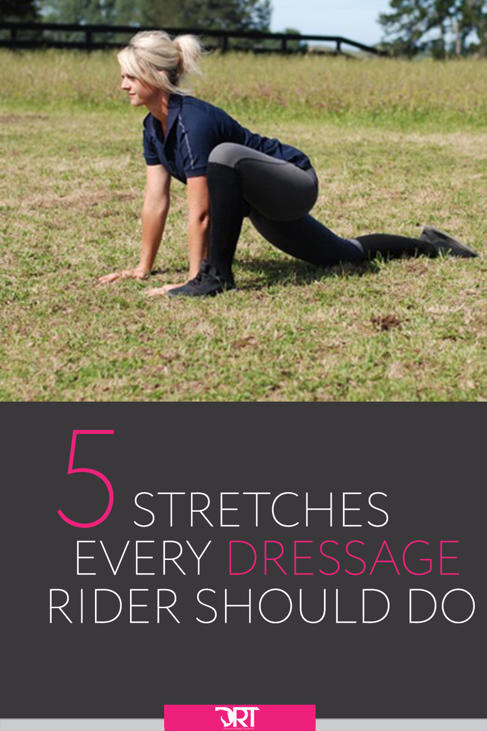 Here are five stretches specific to dressage riders to help your riding posture and balance in the saddle.  #dressage #dressagerider #dressagetraining #dressageexercises